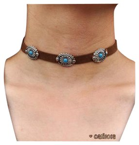 New Boho Brown Choker Turquoise Accents