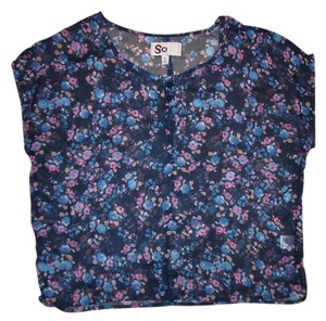 SO Xl Flowers Buttons Top Blue, Pink, White, Beige
