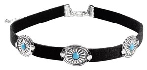 New Boho Black Choker Turquoise Accents