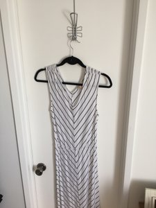 White and Black Maxi Dress by Banana Republic Maxi Stripe V-neck Chevron