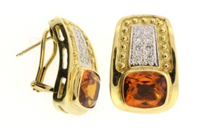 HIGH END - 18k Diamond & 10 cts Citrine earrings
