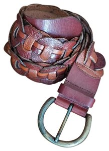 Fossil Tooled / Embossed Woven Leather Loop Belt