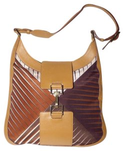 Gucci Bold Gold Accents High-end Bohemian Tom Ford Jackie O Silk Excellent Vintage Hobo Bag