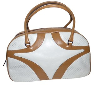 Prada Chrome Hardware Bowling Style Perforated Areas Signature Piece Excellent Vintage Satchel in ivory leather with camel leather accents