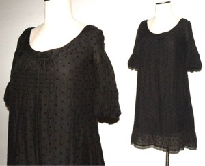 Juicy Couture short dress Black Light Weight Summer Ruffle Swiss Dot 3/4 Sleeve on Tradesy