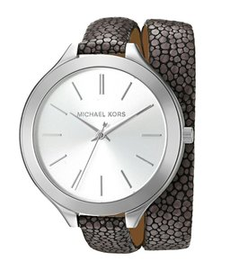 MICHAEL Michael Kors Slim Runway Silver and Leather Wrap Watch MK2475