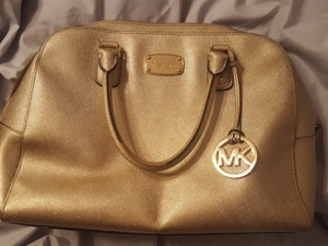 Michael Kors Leather Satchel in Gold