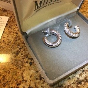 Nolan Miller CZ and Rhodium Plated Sterling Hoop Earrimgs