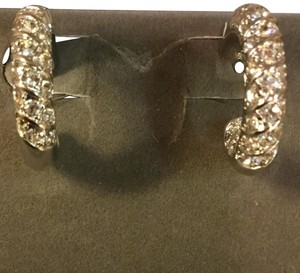 Nolan Miller CZ and Rhodium Hoop Earrings
