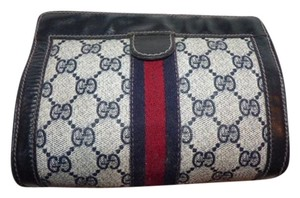 Gucci Great Everyday Cosmetic Bag/Clutch Great For Travel Velcro Top Closure Early navy leather/large G logo print coated canvas & red/blue stripe Clutch