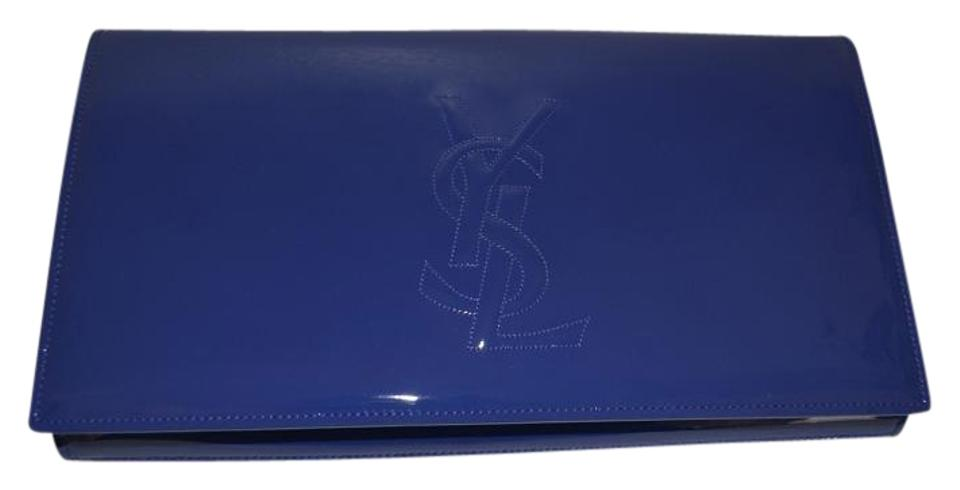 52dd1472a0b Saint Laurent Belle de Jour Ysl Large Blue Patent Leather Clutch ...