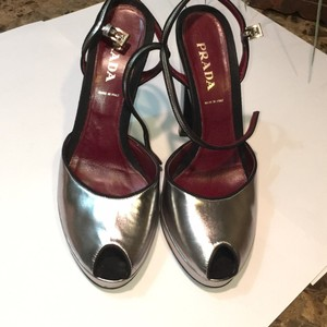 Prada Metalic Silver/black Platforms