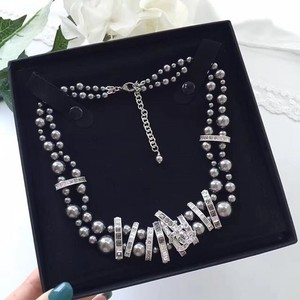 Chanel Chanel 15P Gray Double Strand Faux Pearl Crystal Rhinestone Choker