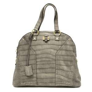 Saint Laurent Muse Ysl Tote in Grey/Green