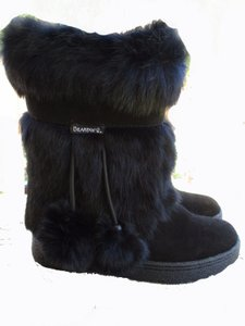 Bearpaw Short Suede Rabbit Fur black Boots