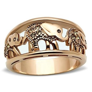 La Bella Rose Rose Gold Stainless Steel Crystal Elephant Band Ring - 07327