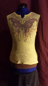No Boundaries Butterfly Sleeveless Small T Shirt Yellow