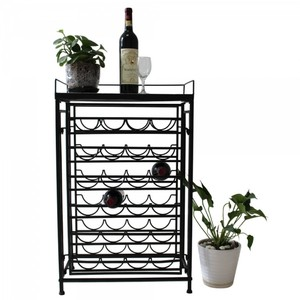 Charcoal 6 Tier Metal Wine Display Rack with Mosaic Top. Holds 24 Bottles. Barware