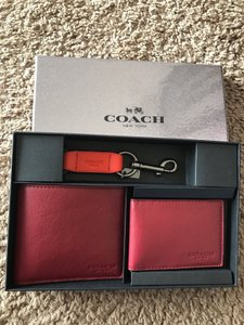 Coach Coach Men's F64118 ID Wallet 3 piece Gift Set Black Cherry Leather