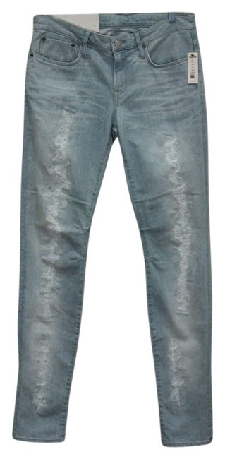Helmut Lang Distressed Designer Light Wash Hardware Skinny Jeans-Distressed