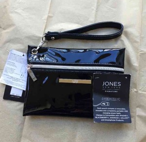 Jones New York Designer Patent Phone Charger Clutch Wristlet in Black