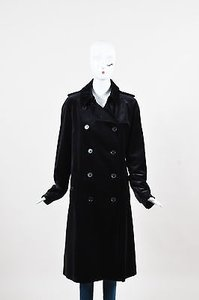 Burberry London Velvet Double Breasted Long Collared Coat