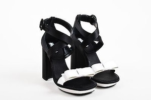 Prada White Satin Black Sandals