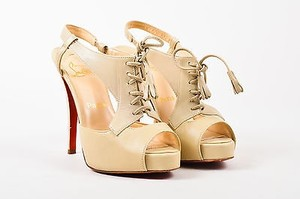 Christian Louboutin Nude Peep Toe Lace Up Sometimes Beige Sandals