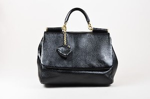 Dolce&Gabbana Pebbled Shiny Leather Ghw Front Flap Shoulder Bag