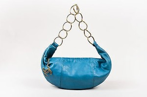 Chanel Teal Leather Bronze Tone Cc Ring Hobo Bag