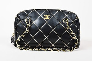 Chanel Beige Leather Quilted Wild Stitch Shoulder Bag