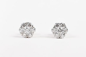 Van Cleef & Arpels Van Cleef Arpels 18k White Gold Diamond Fleurette Post Earrings