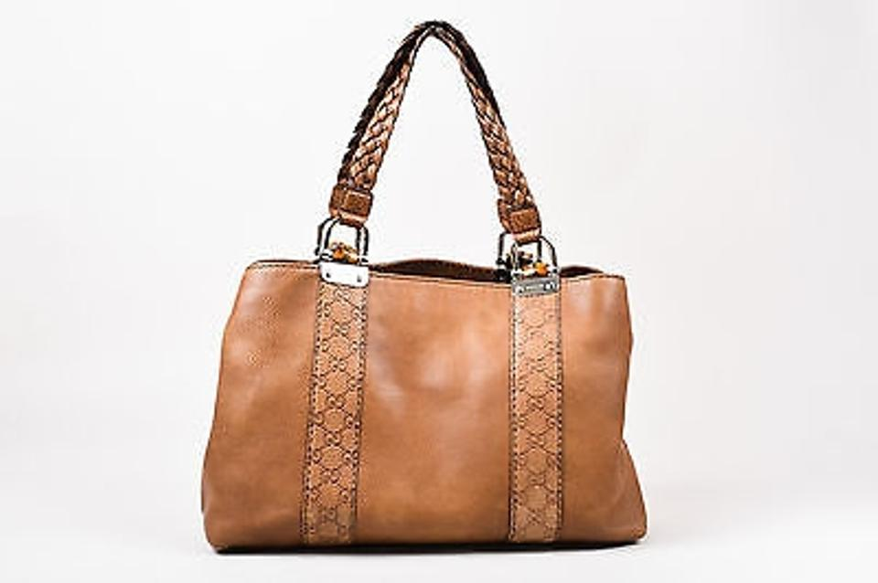 Gucci Leather Braided Handle Monogram Paneled Bamboo Tote In Brown