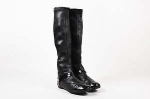 Chanel Leather Patent Leather Trim Strappy Tall Flat Black Boots
