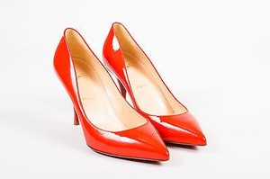 Christian Louboutin Patent Leather Pointy Toe Red Pumps