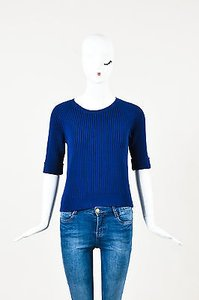 Carven Navy Ribbed Knit Sweater