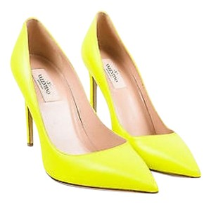 Valentino Garavani Neon Leather Gold Tone Studded Pointy Toe Yellow Pumps