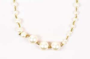 Chanel Chanel 01a Gold Tone Cream Oversized Giant Faux Pearl Long Necklace