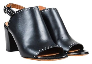 Givenchy Silver Tone Leather Studded Open Toe Slingback Booties Black Mules