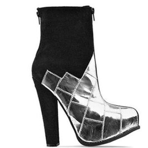 Jeffrey Campbell Black and Silver Boots
