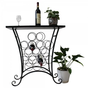 5 Staggered Tier Metal Wine Display Rack With Mosaic Top. Holds 16 Bottles.