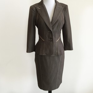 bebe Brown Mini Herringbone Skirt Suit Peplum Jacket Piping Detail