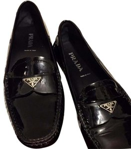 Prada Chanel Moccasins Patent Leather Tods Black Flats