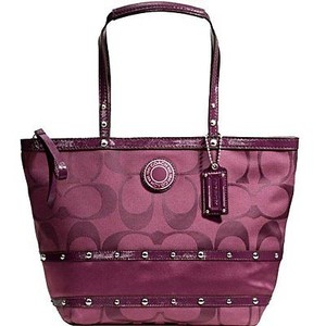 Coach Stylish Studded Signature Satchel in Plum/Wine/Purple