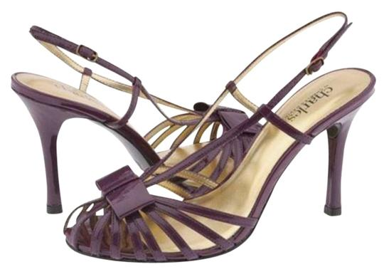 Charles by Charles David Bow Cage Patent Slingback Purple Pumps