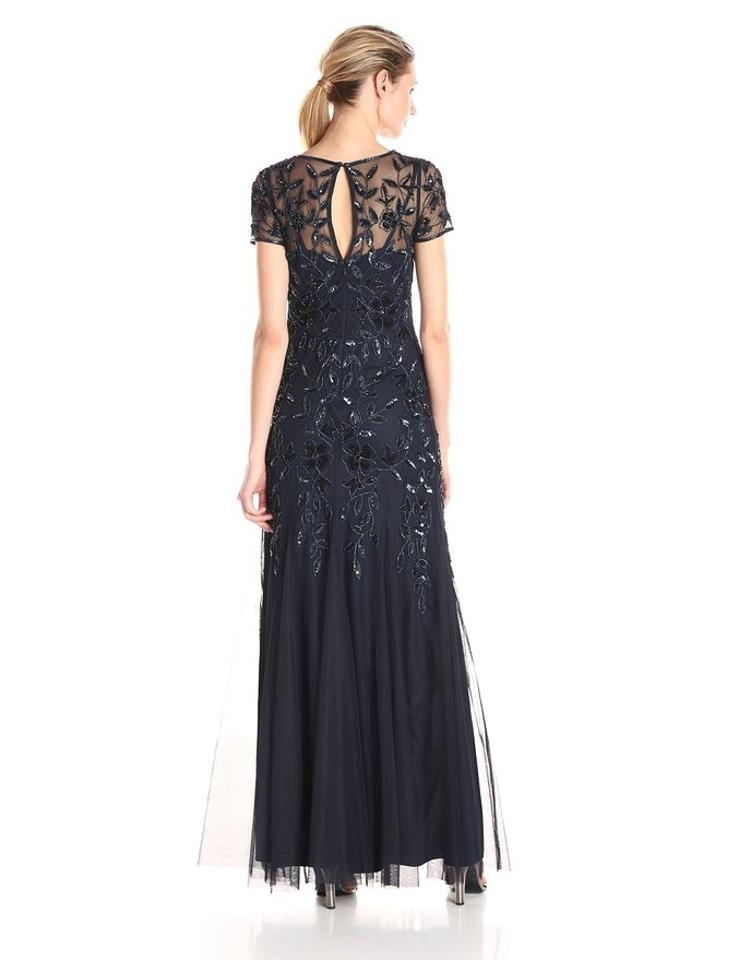 Adrianna Papell Navy Beaded Godet Gown With Short Sleeves Long
