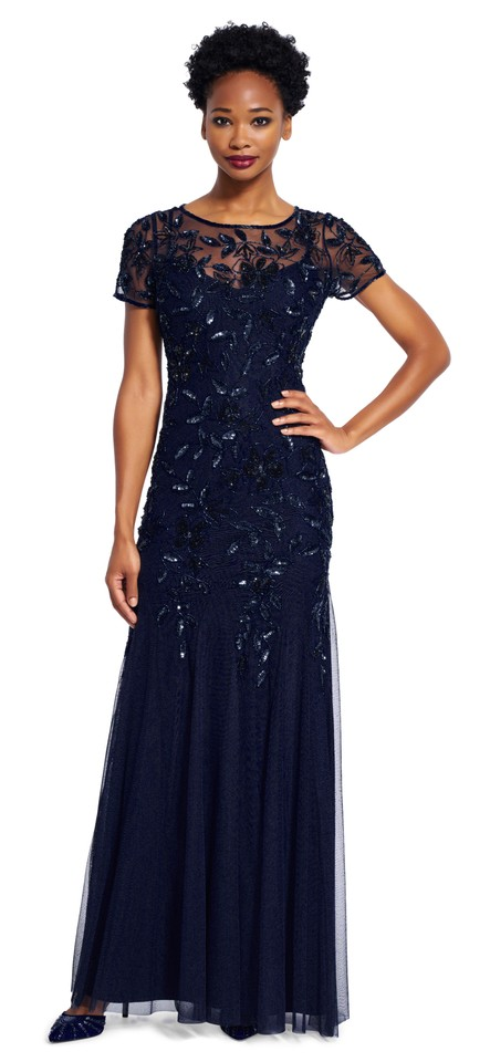 Adrianna Papell Navy Beaded Godet Gown with Short Sleeves Long ...