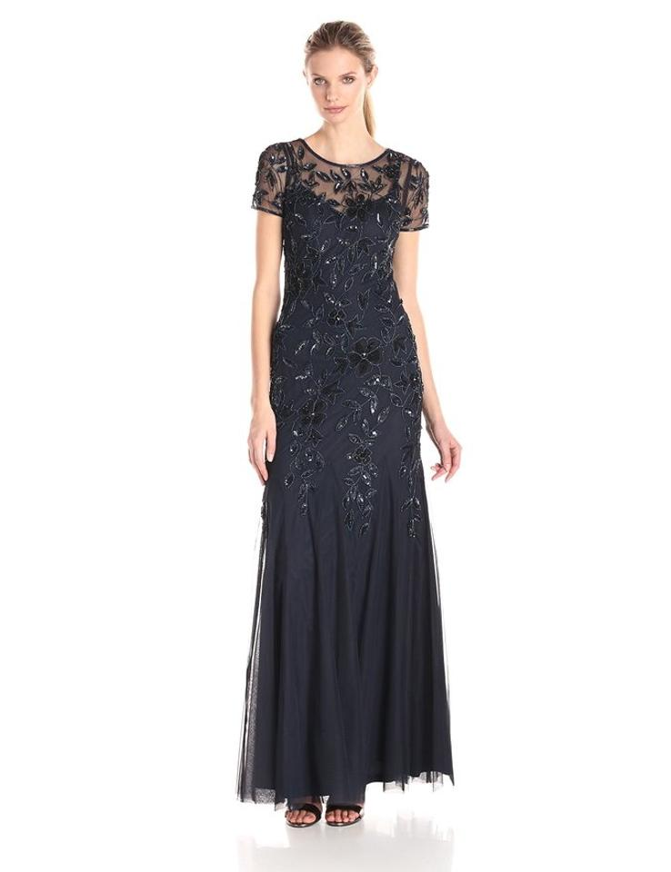152b3dccc99d9 Adrianna Papell Navy Beaded Godet Gown with Short Sleeves Formal Dress. Size:  8 (M) Length: Long ...