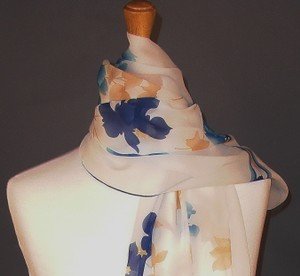 Leonard Paris NEW! LADYLIKE LUXE! Couture Silk Georgette Floral Stole Shawl Wrap