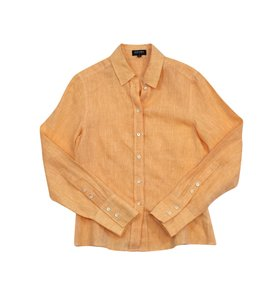 Escada Orange Linen Button Up Shirt Button Down Shirt